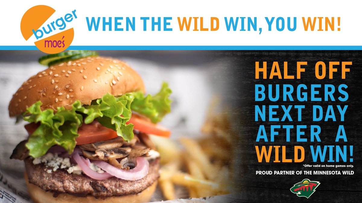 This month's featured restaurant is � @BurgerMoes! Enjoy half off burgers the day after a #mnwild home win.