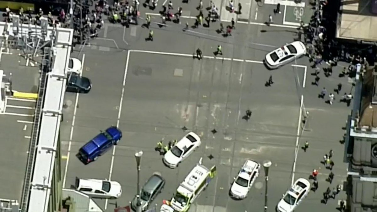 A few minutes of madness in central Melbourne has left three people dead and as many as 20 others injured