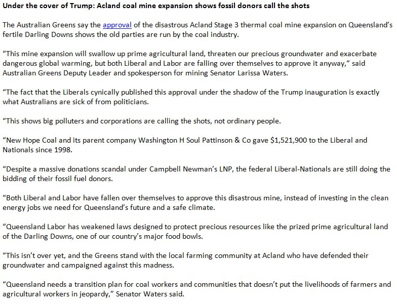 Under cover of Trump, Libs approve Acland #coal mine expansion on prime farmland for big donor who gave $1.5mil. The system is broken. <br>http://pic.twitter.com/l2w13GBfWJ