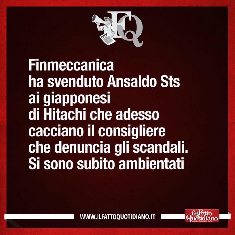 LA FRASE DEL FQ DI OGGI #Finmeccanica #FattoQuotidiano #20gennaio http...