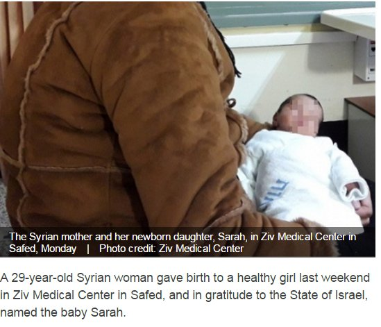 29-year-old #Syrian woman dangerously crosses the boarder, gives birth to healthy girl Sarah in an #Israeli hospital  http://www. israelhayom.com/site/newslette r_article.php?id=39635 &nbsp; … <br>http://pic.twitter.com/vWSRqtcDWR