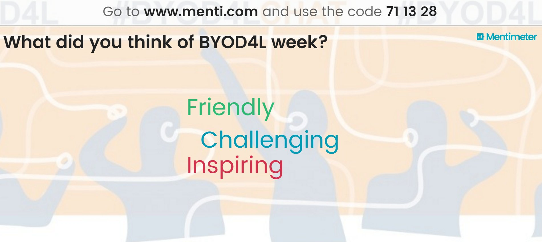 What 3 words would you use to describe #BYOD4L #BYOD4Lchat week? Share here https://t.co/iwaqJ7TvnM Live results: https://t.co/BMXcIPZ1sk https://t.co/ofUQkftsn0