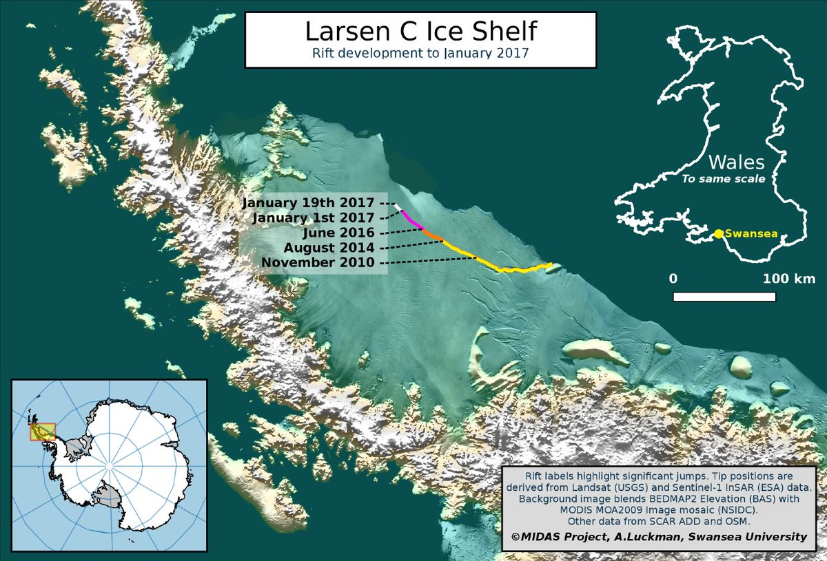 Mega-berg update from @MIDASOnIce - The Larsen C ice crack has grown by another 10km https://t.co/W3VgDehU3m