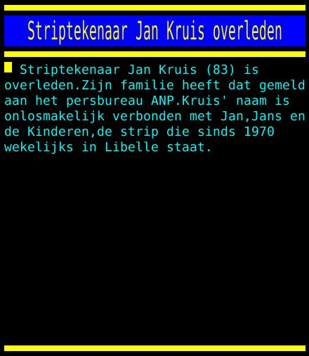 Striptekenaar Jan Kruis overleden https://t.co/toiPo6CZjP
