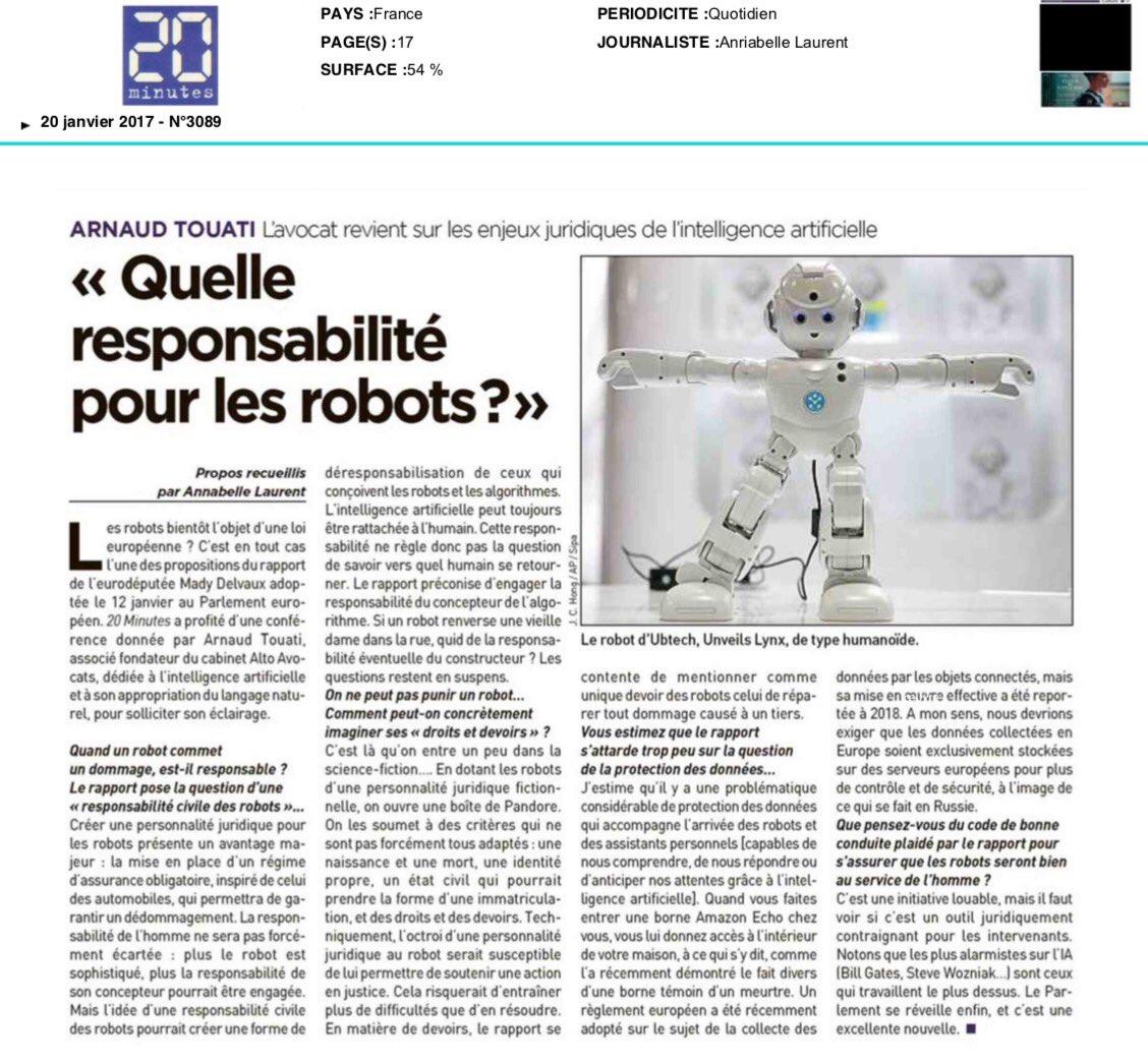Merci @20Minutes @annabelle_L pour @ArnaudTouati #wakeup #IA #IntelligenceArtificielle #robot #tech #future<br>http://pic.twitter.com/hIGs50RgNt