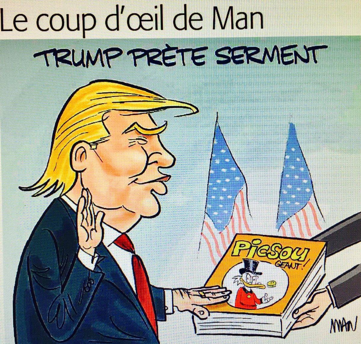 Coup d&#39;œil de #Man dans le @MidiLibreNimes du jour : &quot;#Trump prête serment&quot;  #TrumpInauguration #investituretrump<br>http://pic.twitter.com/6hZGuSScR3