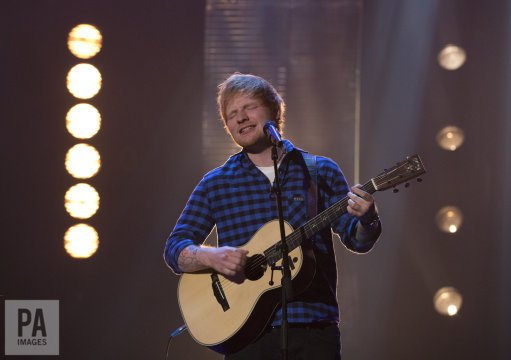 .@edsheeran performing during the #GrahamNorton show on @BBCOne tonigh...