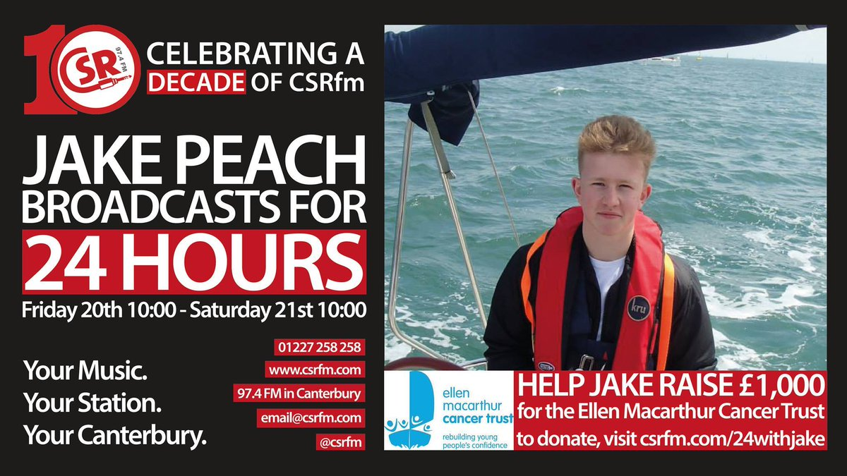 LIVE at 10am Grad Volunteer @jakepeachradio is hosting a 24hr fundraiser radio show on @CSRfm! Tune in here: https://t.co/zNORXl294p