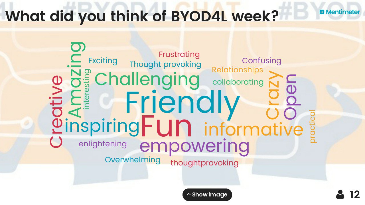The word cloud is looking good for #BYOD4L #BYOD4Lchat experiences. There's still time to add your words at https://t.co/iwaqJ7TvnM https://t.co/KpCS22nkoC