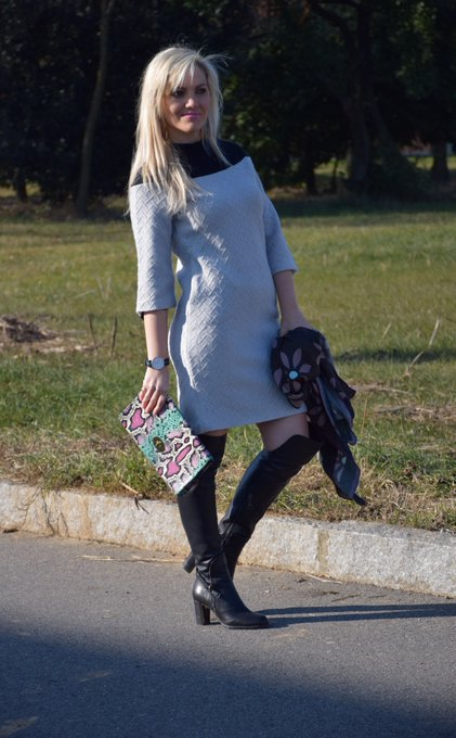 OUTFIT GRAY SWEATER DRESS