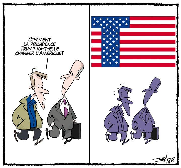 Dessin de vendredi: comment #Trump va-t-il changer l'Amérique? #ledroit #polusa <br>http://pic.twitter.com/e1BhJMHSfu