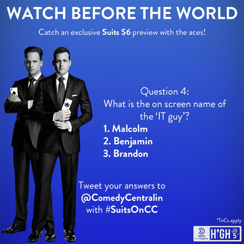 Here is question 4 of the #SuitsOnCC #Contest!  #ContestAlert https://...