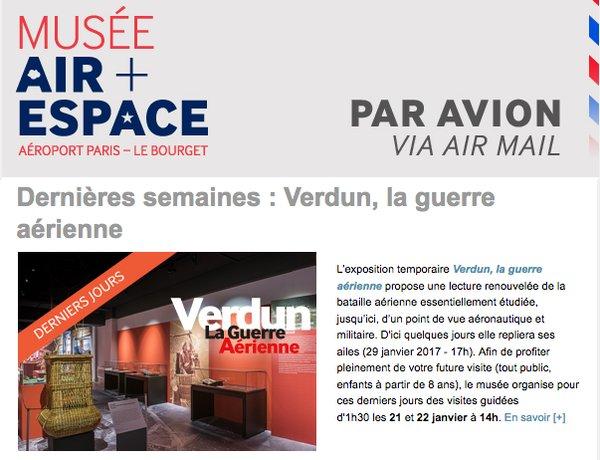[#musées] La lettre PAR AVION n°83 - janv. 2017 - du @MuseeAirEspace est parue  http:// bit.ly/2j1MUmB  &nbsp;   #Verdun #WW1 #avgeek #aero2017<br>http://pic.twitter.com/5xbYhMSV51