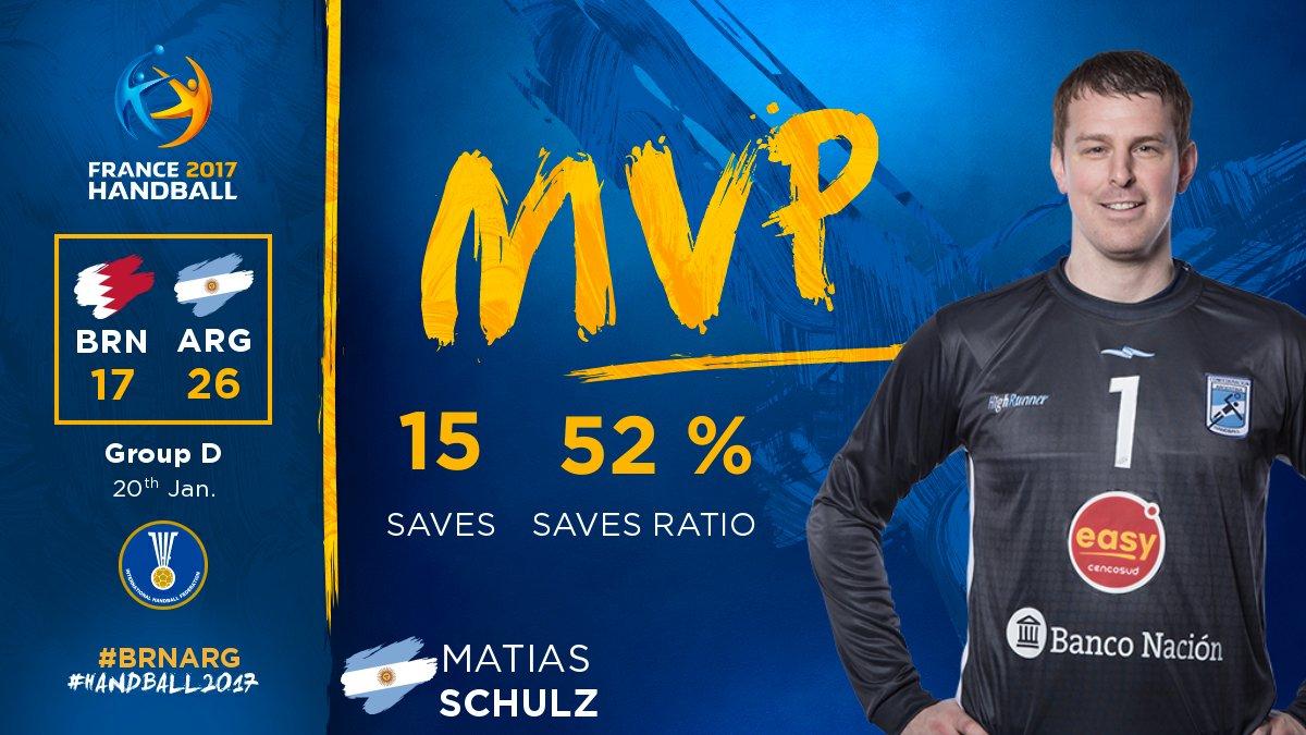 Matias Schulz is the MVP for @CAHandball against @bahrainhand ! 🙌 #BRN...