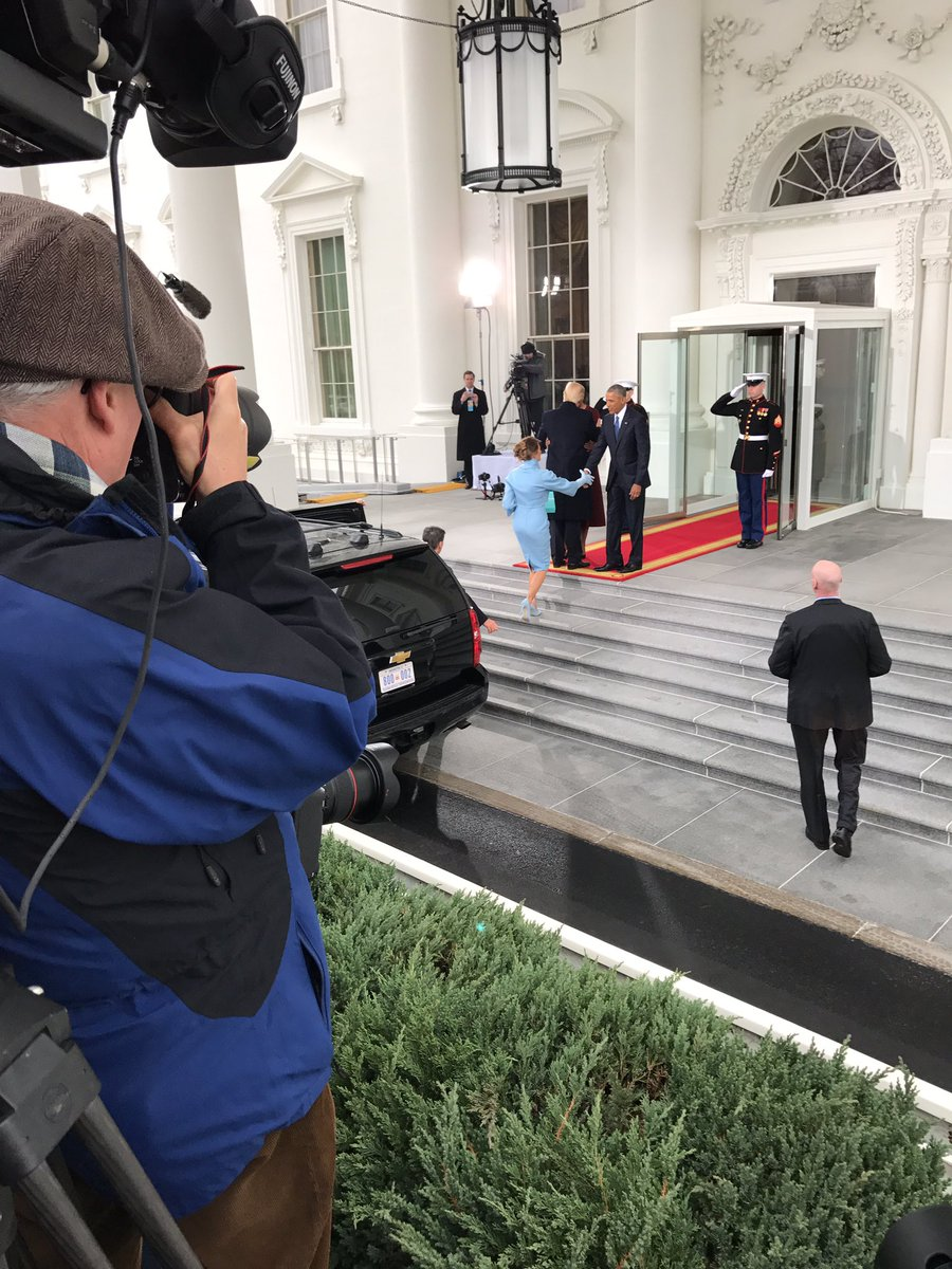 At the WH: President Elect Trump and Melania Trump are greeted by President Obama and Michelle Obama.