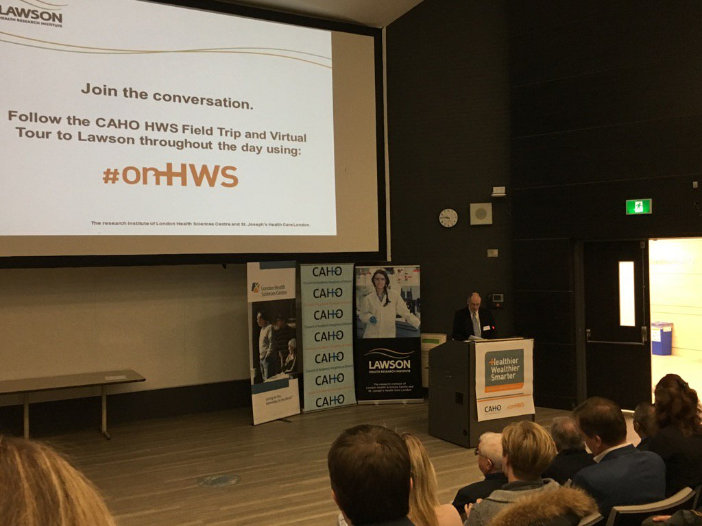 At the kick off for the @CAHOhospitals #onHWS field trip to @lawsonresearch at @LHSCCanada & @stjosephslondon https://t.co/04fBuoRVrB