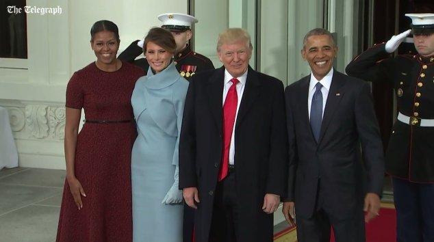 Historic image: President Obama, President Elect Trump, Melania Trump, and Melania Trump's Speech Writer https://t.co/3gYGPdzv1i