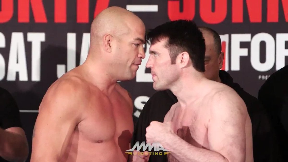 Tito Ortiz and Chael Sonnen square off at #bellator170 weigh-ins. (@ek...