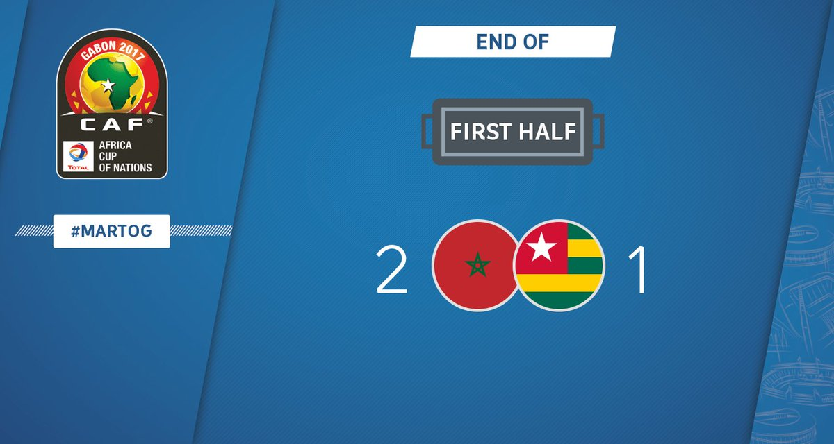 HALF-TIME | Morocco - Togo 2-1 #CAN2017 #MARTOG https://t.co/4KvoHvNIO...