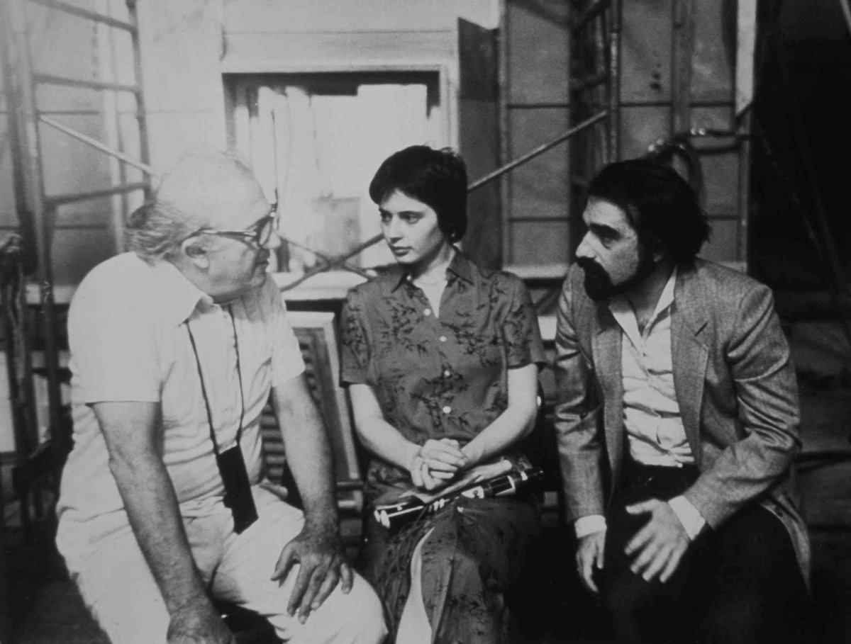 """John Sant on Twitter: """"📷 Federico Fellini with @IsaRossellini and Martin  Scorsese behind the scenes, c. 1980. #FedericoFellini #MartinScorsese  #IsabellaRossellini… https://t.co/Go7x3rp322"""""""
