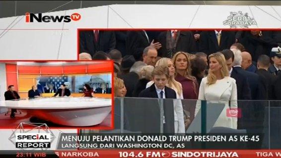 Keluarga @realDonaldTrump turut menunggu dimulainya acara pelantikan....