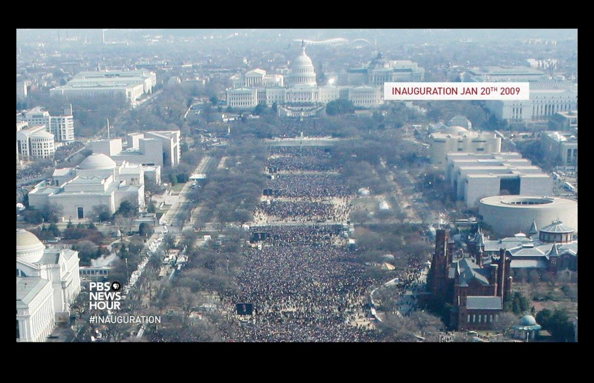 左:オバマ氏の就任式 右:トランプ氏の就任式  #Inauguration