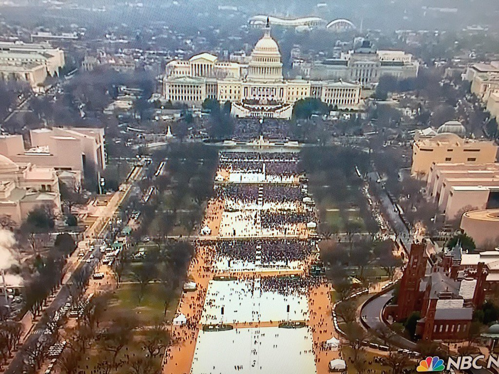 Lots of room still on the Mall. All of that white area was packed 4 years ago.