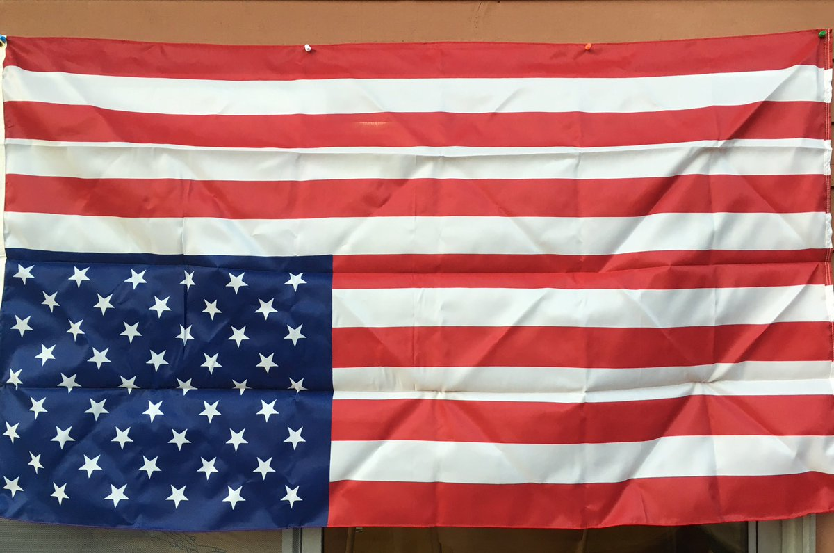 I bought this flag 8 years ago to hang proudly when Obama was sworn in. Now Trump has shown us to be a nation truly in distress. #Resist