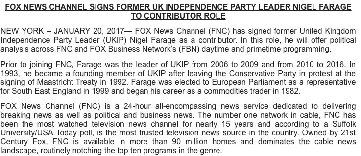 OMG: Former UK Independence Party leader Nigel Farage has joined Fox News Channel as a contributor. https://t.co/XvQMApmt1U