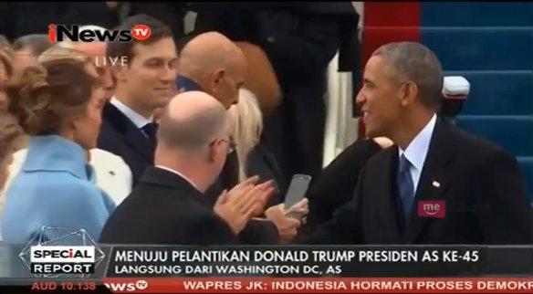 .@BarackObama mendapat sambutan hangat dari para tamu undangan yang ha...
