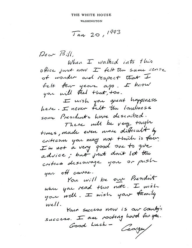 #OnThisDay in 1993, George Bush left this letter for Bill Clinton on #...