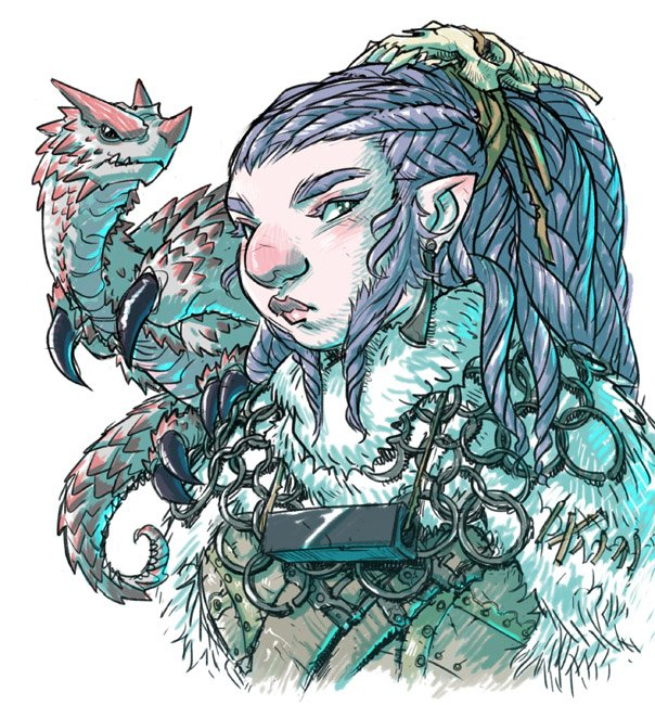 Here is my cranky dwarf warlock Moorwen Frostmoon and her adorable familiar Chalarook. https://t.co/40IT9LadCd