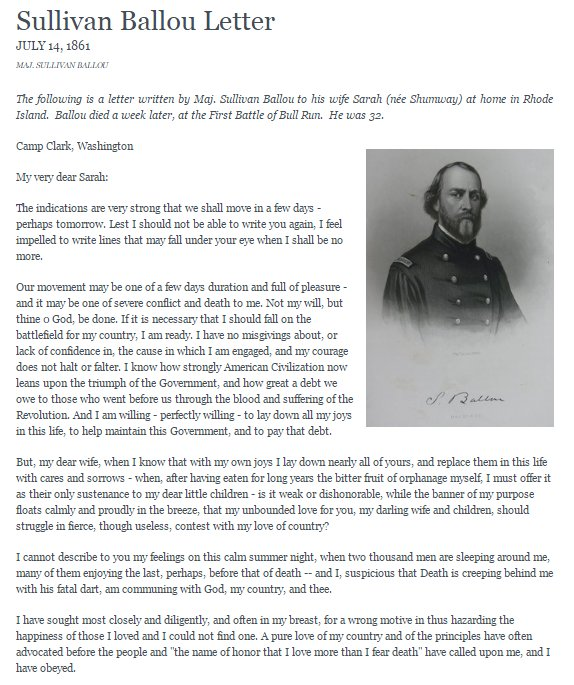 heres the letter chuck schumer spoke about maj sullivan ballou to his wife sarahits worth a read httpbitly2k91e0y pictwittercom93dweatccb
