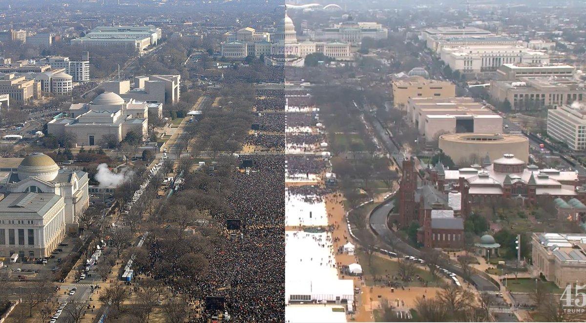 Photos: the crowd at Donald Trump's inauguration vs. Barack Obama's https://t.co/zA3nRJeu0C
