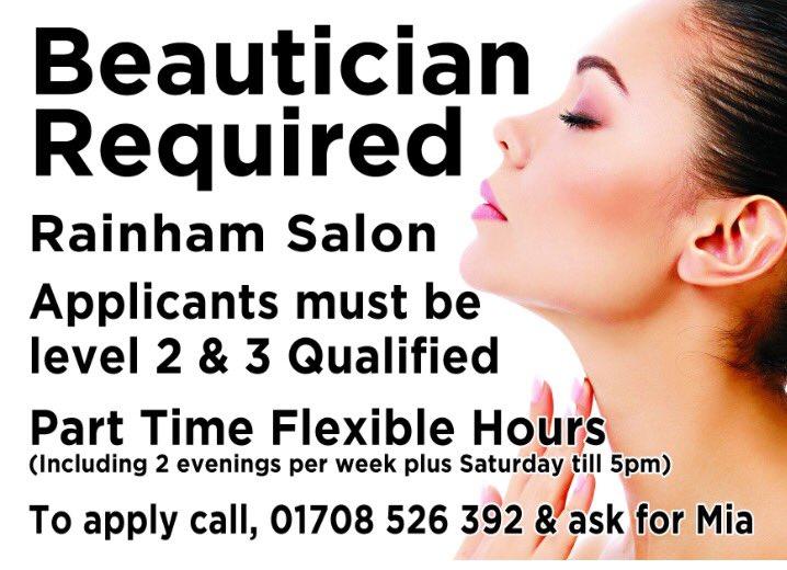 beauty jobs rainhampictwittercomdvomonlubb beautician jobs