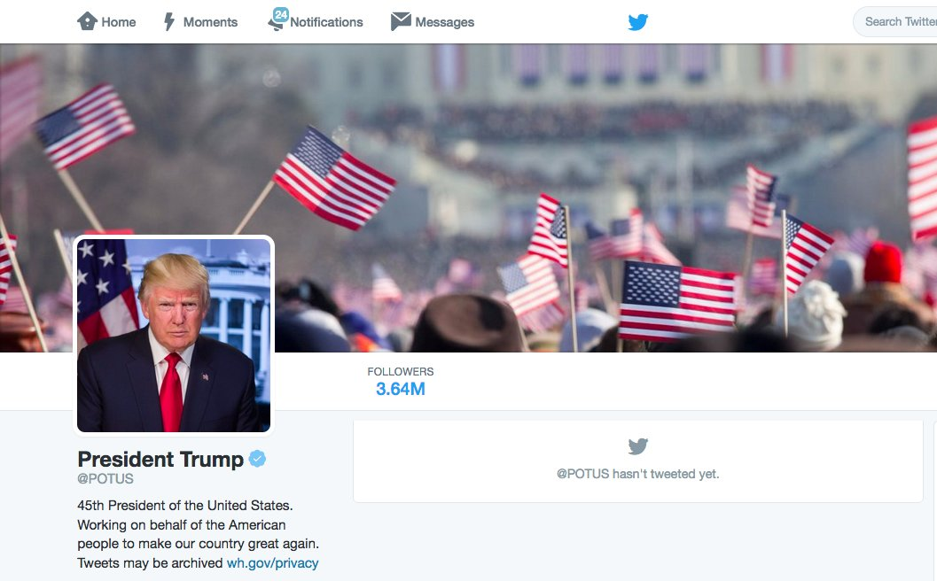Donald Trump's new Twitter background is from the inauguration of Barack Obama: https://t.co/mWlOmF88qw