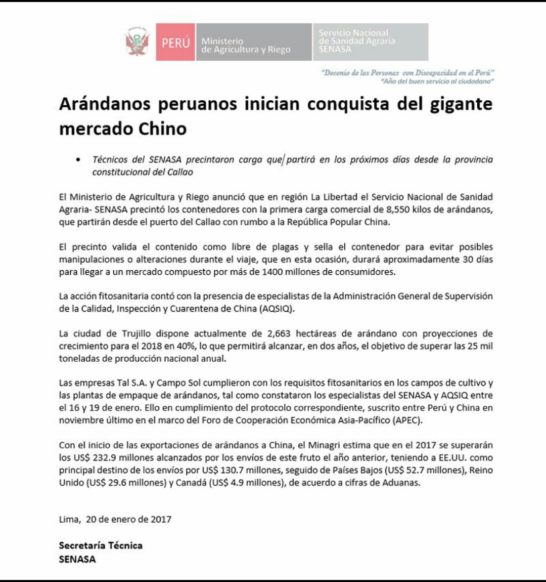 Senasa Peru على تويتر Loultimo Arandanos Peruanos Inician
