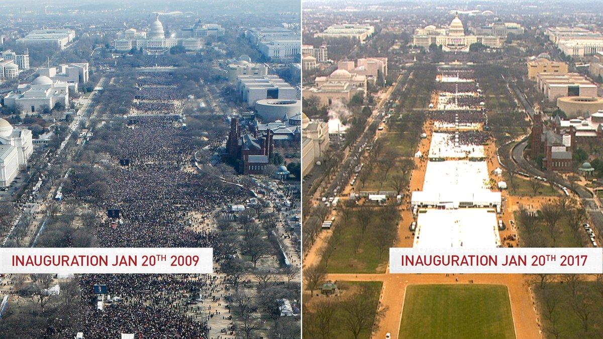 2009年1月20日のオバマの就任式と今日の2017年のトランプの就任式でのワシントンの議会と就任式…