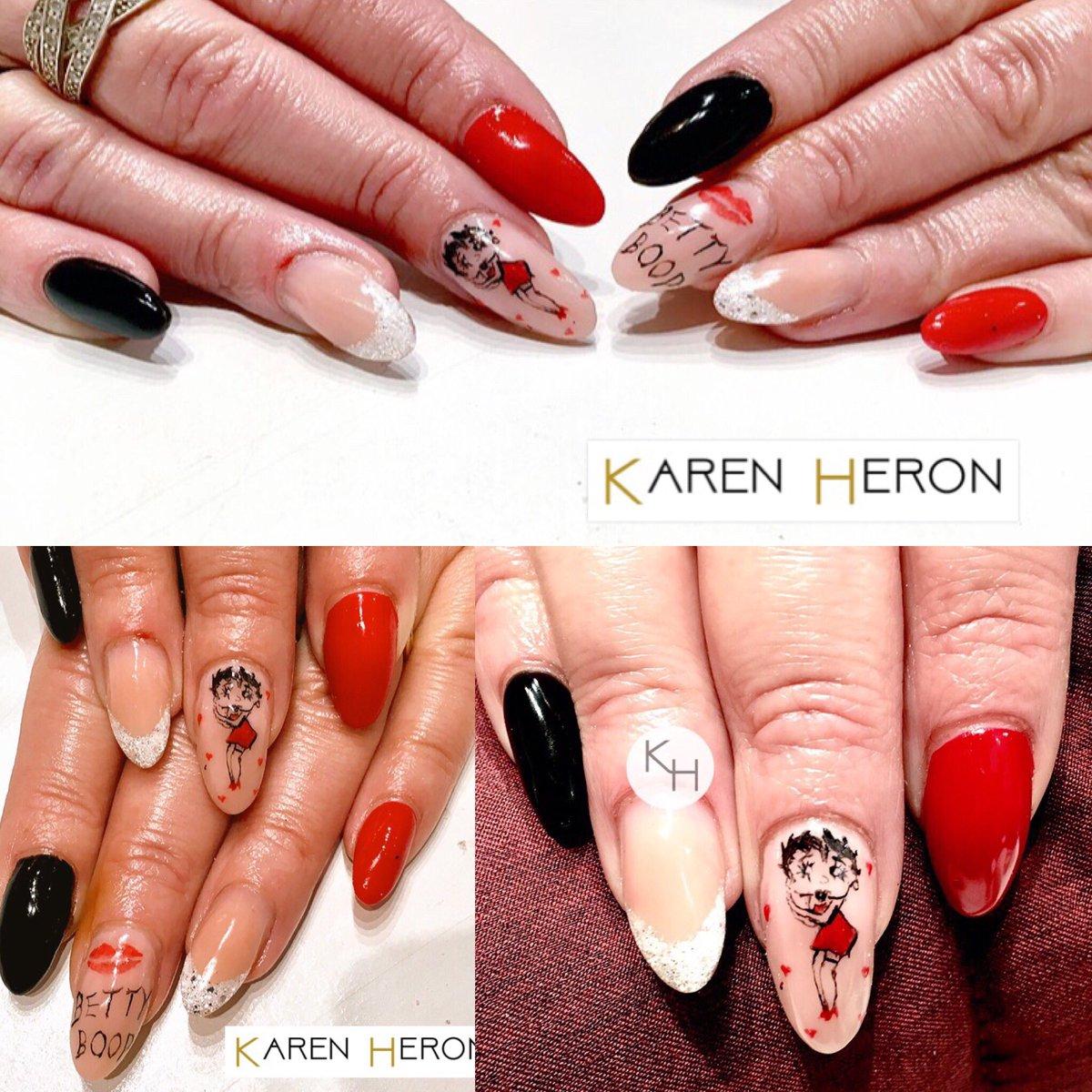 Karen Heron Beauty On Twitter Betty Boop Nails Free Hand Nail Art