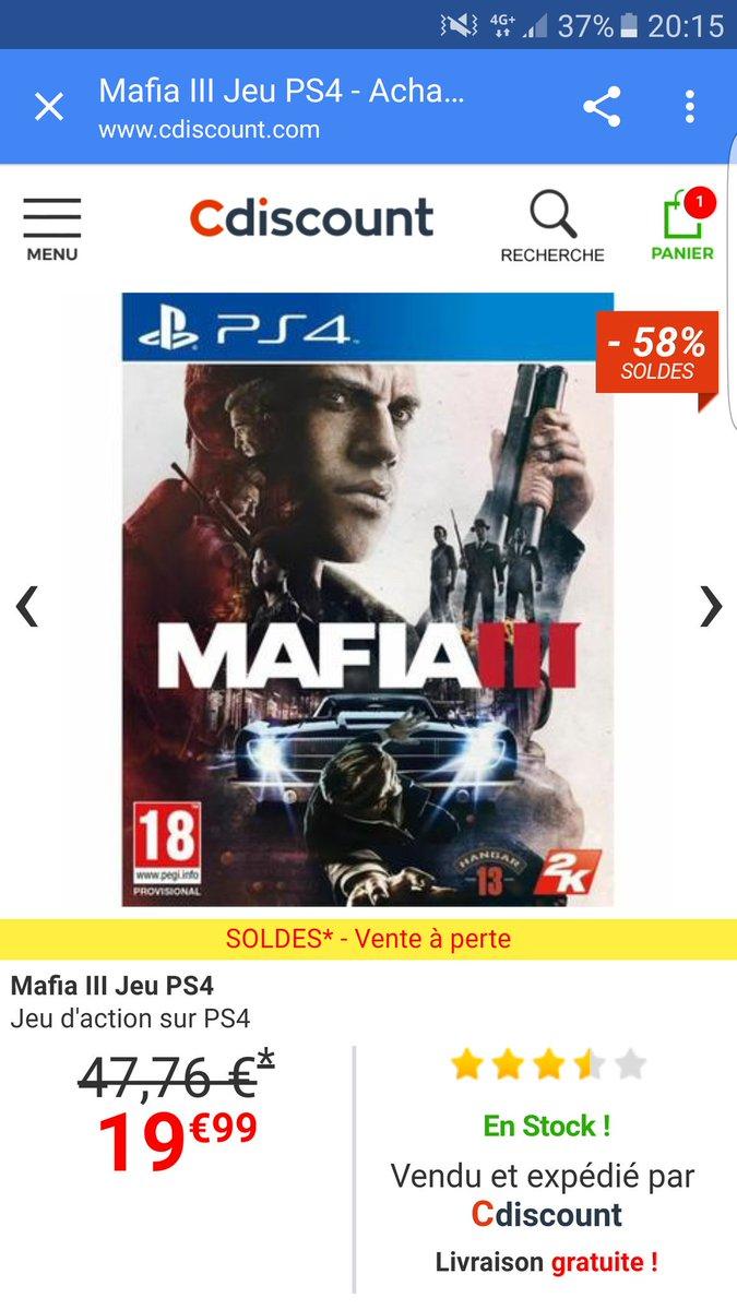 Mafia 3 à 19.99€  #CdiscountOffreLesSoldes <br>http://pic.twitter.com/s9AVTkT2Hz