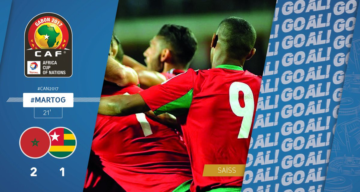 GOOOOAAAL | SAÏSS scores a goal for Morocco. Morocco - Togo 2-1 #CAN20...