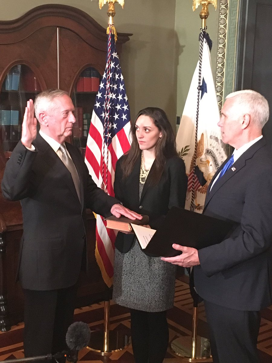 The @vp has sworn in James Mattis as the Secretary of Defense #Inauguration