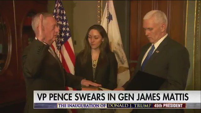 .@VP Mike Pence swears in General James Mattis as Secretary of Defense. #Trump45 #Inauguration #First100
