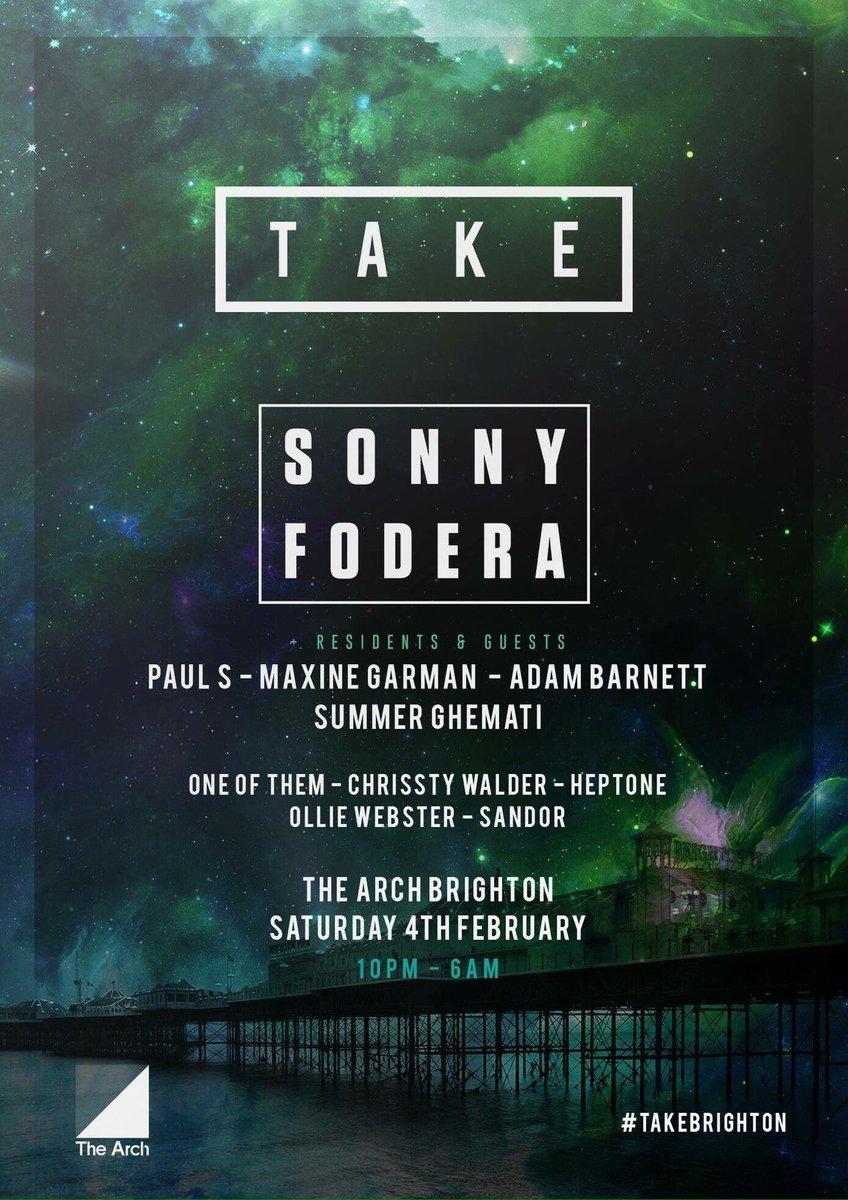 Feb 4th @thisistake invite @sonnyfodera to @thearchbrighton #brighton #take <br>http://pic.twitter.com/haqDP88mAz