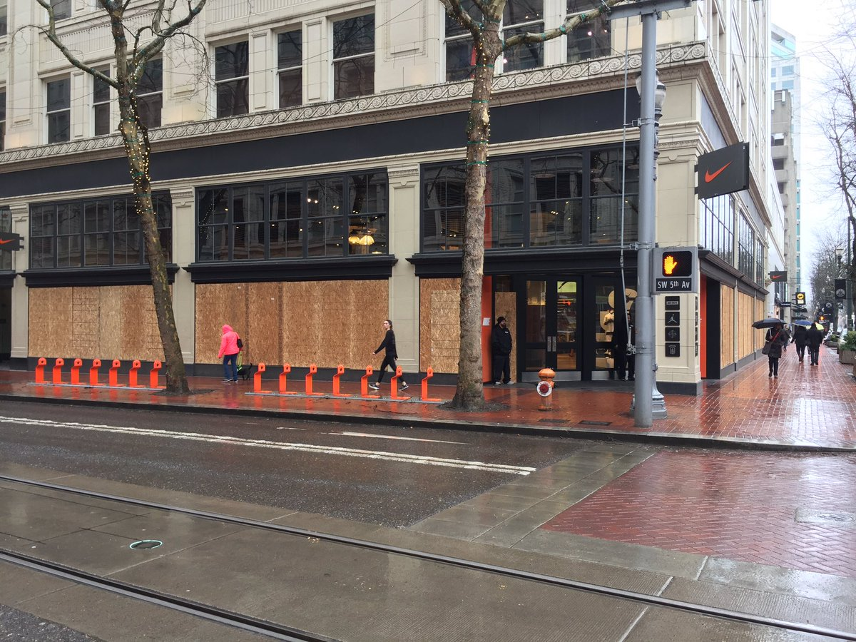Ric Peavyhouse On Twitter Downtown Nike Store Completely Boarded Up Before The Protest Security Outside They Got Vandalized During November