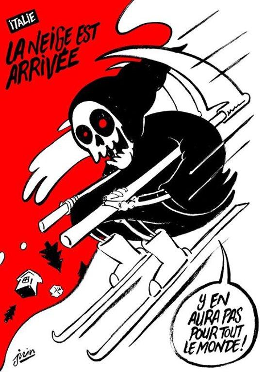 #Charliehebdo torna a fare satira sull' Italia e pubblica una vignetta...