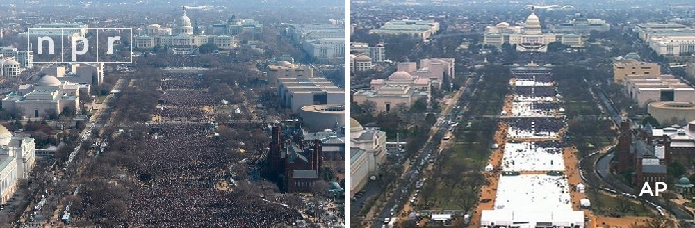 Two photos taken at the same time just before noon.   Left: Obama inaugural 2009 Right: Trump inaugural 2017 https://t.co/GittLm9A4T