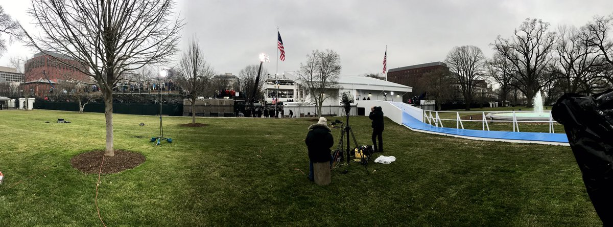 Many empty seats on bleachers at end of parade route as Trump is on th...