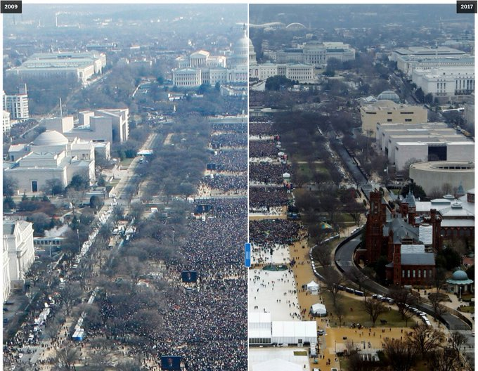 Use the slider to compare the crowds at Trump's and Obama's inaugurations. https://t.co/g22X8GnAlZ
