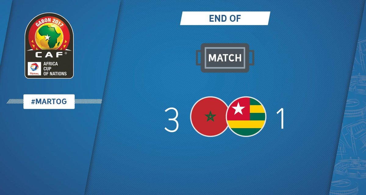 FULL TIME | Morocco - Togo 3-1 #CAN2017 #MARTOG https://t.co/HqwzZ1Jh3...